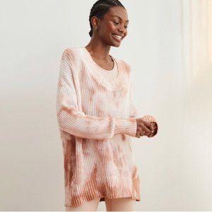 NWT AERIE Open Knit Oversized Tie Dye Sweater L